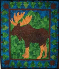 "this is one of our all-time favorites. I regularly hang it in my booth at shows. Moose are so fun!@ I mean not up close - they're kind of big and scary. You can see the stitching in the open areas. Angela used the ""Backwood"" pictogram pattern. Machine Quilting Patterns, Hand Quilting, Quilt Patterns, Quilting Ideas, Little Boy Beds, Moose Quilt, Wildlife Quilts, The Quilt Show, Photo Craft"