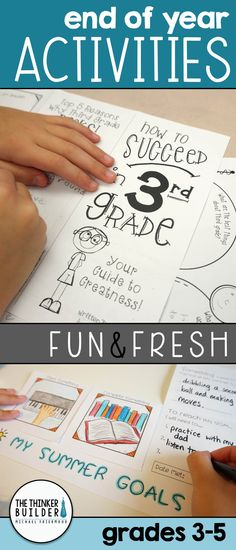 "Fun and fresh End-of-the-Year activities, including a ""How to Succeed"" brochure… 3rd Grade Classroom, 3rd Grade Math, School Classroom, Grade 3, Fourth Grade, Third Grade, End Of Year Activities, Classroom Activities, Classroom Ideas"