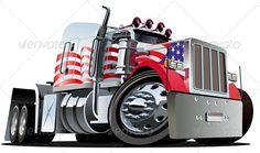 Cartoon Drawings of Semi Trucks   Vector Cartoon Semi Truck GraphicRiver - Vectors - Objects Man-made ...