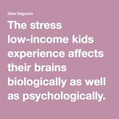 The stress low-income kids experience affects their brains biologically as well as psychologically.