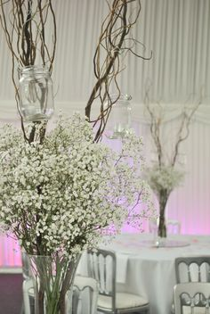tall vases with baby's breath - Google Search