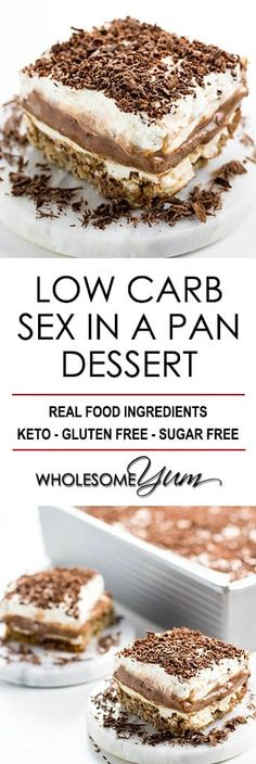Sex in a Pan Dessert Recipe (Sugar-free, Low Carb, Gluten-free) - Learn how to make sex in a pan dessert - easy and sugar-free! And, this chocolate sex in a pan recipe is one of the best low carb…More 15 Easy Keto Dessert Ideas Keto Desserts, Sugar Free Desserts, Easy Desserts, Best Gluten Free Desserts, Sugar Free Jello Keto, Diabetic Dessert Recipes, Sugar Free Pudding, Sugar Free Treats, Sugar Free Diet