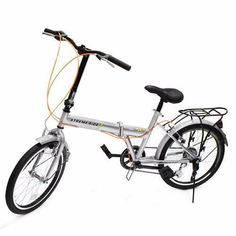 """Kissemoji 20"""" Silver 6 Speed School Sports City Storage Folding Foldable Bike Bicycle. It folds in less than 15 seconds so you can take it anywhere and It's light enough to carry on public transport. Perfect for taking on a bus or train on your commute or stashing in your apartment. 6-speed derailleur & freewheel.Steel designer folding frame. Color matching front and rear tail fenders.Heavy-duty kick stand. Easy to assemble.Adjustable seat height.Adjustable handle bar height."""