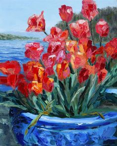 Tulips Springwater Deck Mayne Island  20 x 16 inch oil on canvas  by Terrill Welch. Sold
