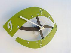 spring green clock Sweep I Clock Eden Green eye shaped clock modern steel clock by All15Designs