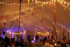 wedding tent - lights and bunting