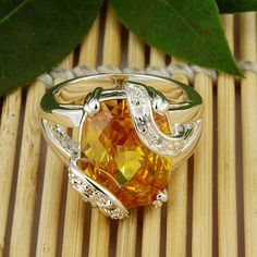 Citrine Topaz Jewelry Gemstone Silver Ring http://www.ringsforme.com/online/category/by-gem/citrine-rings/