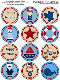 Sea, Nautical, Sailor Cupcake Toppers Birthday Party  http://www.etsy.com/listing/93706546/sea-nautical-sailor-cupcake-toppers?ref=v1_other_1