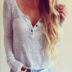 V-neck buttons long-sleeved sweater T-shirt