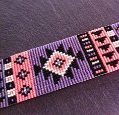 Bracelet Manchette Motif Aztèque Orange Fluo par TDFTheDreamFactory