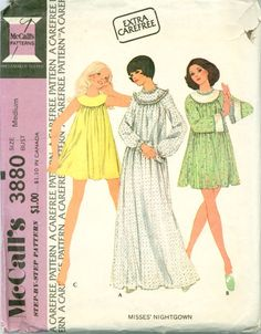 McCall's 3880 - Misses' Baby Doll and Classic Nightgown – Serendipity Vintage