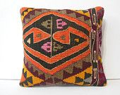 """16"""" couch pillow cover decorative pillow kilim rug throw pillow designer kilim pillow embroidered pattern pillow large cushion orange black"""