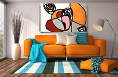Vibrant Colorful Abstract-0-30. Extra Large Orange Redt Black