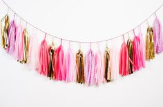 Speckled Pink Tassel Garland
