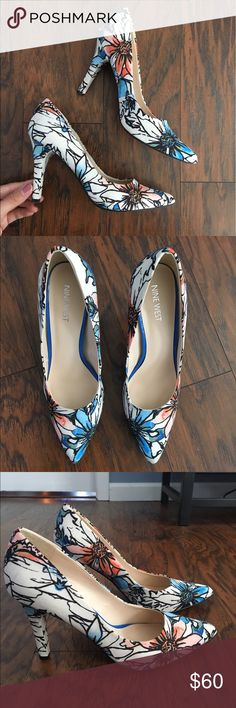 """Floral Print Heels NineWest Floral Print Pointed close-toe Pump.                                • fabric material on the outside.                                                     • 4"""" inch heel.                                                                                          • worn only 2-3 times and now they don't fit after pregnancy! :( These are beautiful heels that are sure to get many compliments! Nine West Shoes Heels"""