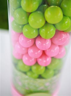 Pink and green gumballs