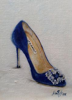 Blue Satin Shoes Hangisi Manolo Blahnik by Nina R. linen On sale . Blue Satin Shoes, Satin Pumps, Fashion Art, Trendy Fashion, Fashion Shoes, Cinderella Slipper, Manolo Blahnik Heels, Couture Shoes, Shoe Art