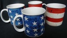 """Warren Kimble Sakura """"Colonial"""" American Flag Patriotic Mugs Cups Set of 4 1997"""