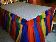 Candyland table skirt rainbow