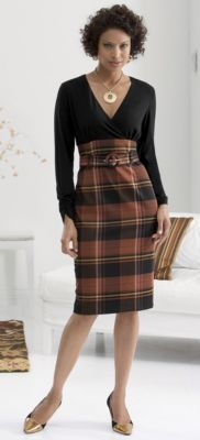 Recess Dress ...Schoolgirl charmer meets uptown business woman in this knit top/stretch plaid jersey dress. Self-fabric belt frames your shape while concealing. Crossover V-neck, empire waist, hidden side zip. Polyester/rayon/spandex; dry clean.... Nice sleeve length & neck style I also like the brown & black plaid