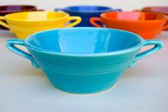 Turquoise Harlequin Cream Soup Bowl