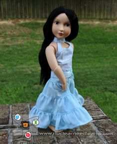 """Summer halter top and ruffle skirt for  16"""" A Girl for All Time by NuclearNeedleArts on Etsy"""