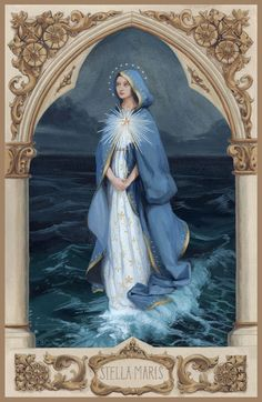 Mary Star of the Sea – The Catholic Illustrators Guild Blessed Mother Mary, Blessed Virgin Mary, Religious Images, Religious Art, Catholic Pictures, Image Beautiful, Queen Of Heaven, Sainte Marie, Holy Mary