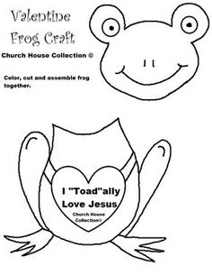 """Church House Collection Blog: I """"Toad""""ally Love Jesus- Frog Valentine Heart Craft Cutout For Kids- For Sunday School, Children's Church or at Home"""