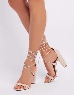 cb94eae7e5b4 Charlotte Russe Faux Suede Lace-Up Sandals