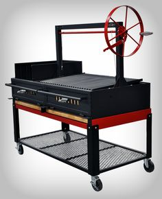 "Argentine Grill 96"" w/Fire Brick, Grill Head & Firebox, Cart, Single Grate Brasero 70/30 Split - Item # ARG-96DSIBR7030CRT"
