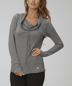 Look at this Marika Heather Gray Infinite Cowl Neck Hoodie on #zulily today!