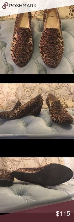 Stuart Weitzman Leopard Print Wedges Beautiful shoes! Gently worn. Wedge loafers from Stuart Weitzman- so comfortable. Leopard print suede. You will love the compliments. Wear with jeans and a tshirt or a black dress! Stuart Weitzman Shoes Wedges