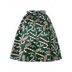Graphic Christmas Flare Skirt - GREEN GREEN