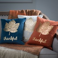 Whether a part of your Thanksgiving design scheme or all-encompassing Autumn decor, the Thro by Marlo Lorenz Thankful Foil Leaf Printed Pillow makes. Fall Pillows, Diy Pillows, Decorative Throw Pillows, Cushions, Fall Home Decor, Autumn Home, Foto Transfer, Happy Fall Y'all, Perfect Pillow