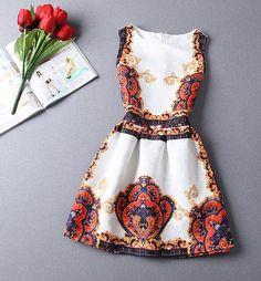 Venda quente nova moda 2015 verão impressão vestido, Mulheres sem mangas vestidos de festa em Vestidos de Roupas e Acessórios no AliExpress.com | Alibaba Group