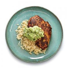 Cumin-Rubbed Chicken with Guacamole Sauce | 348 MyRecipes.com