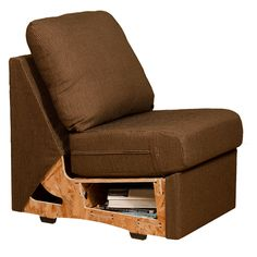 A cut-away side image showing the built-in-storage and comfort deck webbing on a Home Reserve Sofa