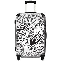 IKase Pop Art Keith Haring Check-in 24-inch,Hardside Spinner Suitcase