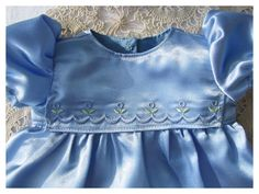 Baby Blue Satin 15 Inch Bitty Baby Party Dress by BonJeanCreations