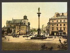 Widok z Placu Zamkowego na Kolumnę Zygmunta i Krakowskie Przedmieście, ok. 1900 r.