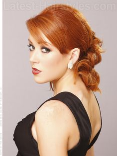 Pin Curled Pony Loose Red Style with Bangs