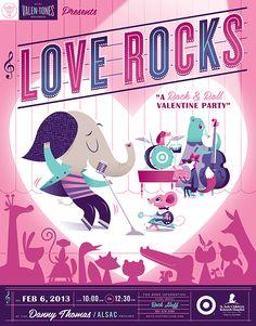 Lab Partners Love Rocks poster for Target House carnivals