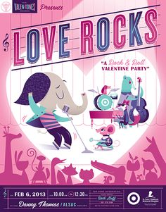 Lab Partners Love Rocks poster for Target House carnivals