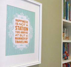Happy Travels inspirational quote print poster by AlmostSundayInc