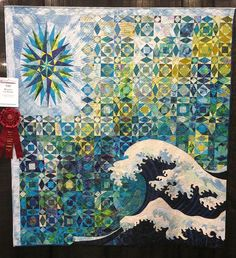 """""""Weather the Storm"""" by Elizabeth Bauman (Ohio.)  2nd place - Large Quilts - Home Machine Quilted.  2015 AQS Quilt Week - Grand Rapids.  Photo by Mama Spark."""