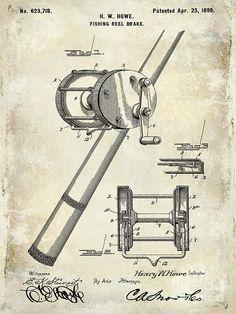 1899 Fishing Reel Brake Patent Drawing Photograph by Jon Neidert