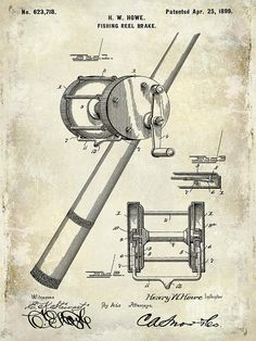 1899 Fishing Reel Brake Patent Drawing Photograph