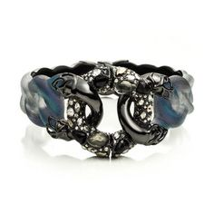 Imperial Noir Crystal Lace Linked Hinged Bracelet