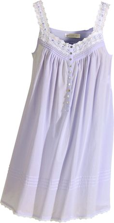 Eileen West cotton chemise in solid lavender features beautiful eyelet cotton lace, pintucking and shell buttons. Feel and look beautiful in this lavender Eileen West chemise. Pin Up Lingerie, Lingerie Outfits, Lingerie Silk, Cotton Sleepwear, Sleepwear Women, Night Dress For Women, Nightgowns For Women, Night Gown, Lounge Wear