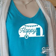 Happy Camper Ladies' Triblend V-Neck T-Shirt by SuzySwedeCreative